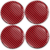 4 x 60mm 3D Silicone Stickers Car Rims Wheel Hub Center Caps Carbon Red Emblem