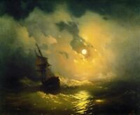 "high quality oil painting handpainted on canvas ""Stormy sea at night"""