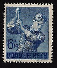 1943 Nazi Germany Hitler Youth -Jugand Swastika Armbend Youth Blue Mint Stamp