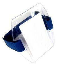Arm Band Photo ID Badge Holder Vertical w/ Blue Strap - Pack of 10