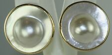 VINTAGE LARGE 14K GOLD BLISTER MABE PEARL CLIP EARRINGS
