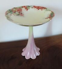 Antique French Limoges Hand Painted Porcelain Tazza Centerpiece Bowl Currant