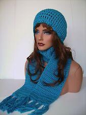 CROCHET BRIGHT BLUE BEANIE SCARF SET CLOCHE BEANIE BAGGY TAM RASTA SKATER CAP