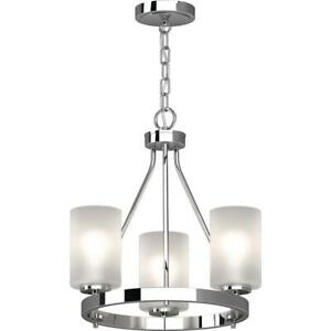 Volume Lighting Emery 3-Light Chrome Indoor Mini Hanging Chandelier with Frosted