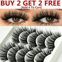 5Pair 3D Mink False Eyelashes Wispy Cross Long Thick Soft Fake Eye Lashes US
