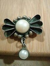 Beautiful Vintage Taxco C11 Genuine Pearl Brooch Pendant