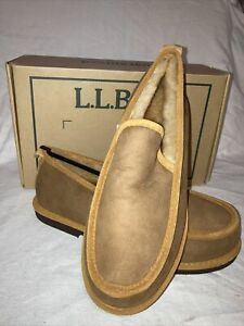 LL Bean Wicked Good Slip Ons Men's Size 8 M Brown Suede Slipper Shearling Lined