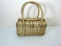 Vtg 1950's-1960's Basket Purse Burnished Metallic Gold Woven Wicker Style