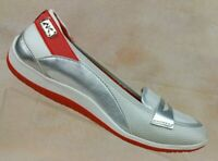 Anne Klein Sport Welcome Silver/Orange Slip On Comfort Flats Women's 7.5 M