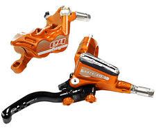 Hope Tech 3 E4 Orange Front & Rear Black Hose Brake Set w/ Floating Rotors - New