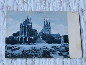 Alte Ak Erfurt Dom mit Marktplatz - Postkarte Weltpostverein 1904 Ch. Niedling
