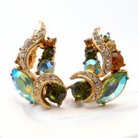 Vintage Clip On Earrings Sphinx Rhinestone Gold Tone 1950s Costume Jewellery