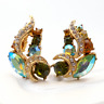 Vintage Clip On Earrings Sphinx Rhinestone Gold Tone 1950s Costume Jewellery