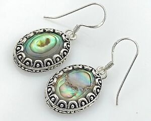 ESTATE .925 Sterling Silver & Abalone Shell, Decorative Trim Oval Wire Earrings