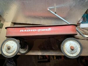 "Antique RADIO PAL Red Wagon by Radio Steel/Flyer ~24 ¼"" x 12 ¼"" x  9"""