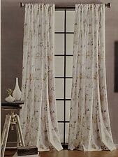 "DKNY 84"" WALLFLOWER Floral Rod Pocket Window Curtain Panels Gray Taupe Gold NEW"