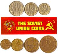 7 USSR COINS. DIFFERENT SOVIET UNION COINS 1-20 KOPEKS SET. COMMUNIST COINS