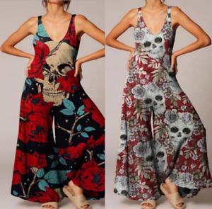 Sexy Women Ladies Gothic Shirt Skull Sleeveless Jumpsuits Summer Playsuit E6276