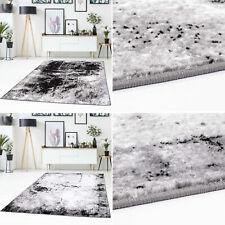 Teppich Flachflor Abstraktes Muster Modern Meliert Schwarz Grau Weiß Wohnzimmer