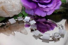 Cateye Armband Weiß Qudrate + Crash Glas Perlen mit Karabiner Verschluß
