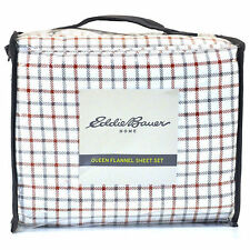 Eddie Bauer Home Red White & Blue Plaid Cotton Flannel Queen Sheet Set ~ New