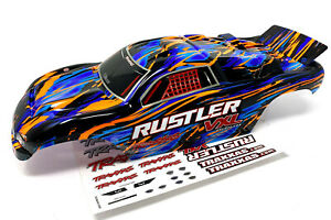 RUSTLER VXL Painted ORANGE BODY shell (cover ProGraphix trimmed Traxxas 37076-4