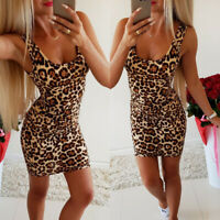 Sexy Party Sleeveless Leopard Print Pencil Bodycon  Skirt Stretch Slim Dress