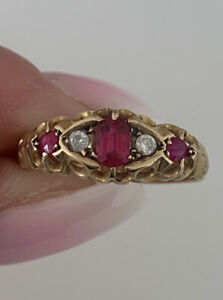 18ct Gold Ruby And Diamond Period Art Deco Five Stone Ring Chester 1913
