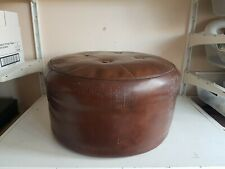 Old Sherborne Round Brown Faux Leather Pouffe Footstool Foot Rest Ottoman Furnit