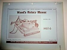 Woods M61 6 Rotary Mower Cutter Operators Owners Parts Manual Catalog 362