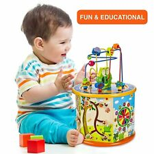 Baby Wooden Activity Cube Toys Kids Education Learning Puzzle Bead Game Gift UK