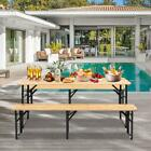 70 inch 3-Piece Portable Picnic Beer Table Bench Set Weather-Resistant Folding