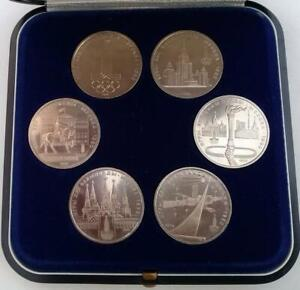 Russia 1980 Olympic Games Moscow Coin Set 1 Rouble x 6 in Case