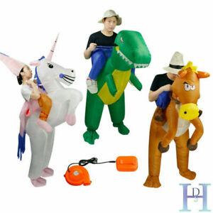 Adult Inflatable Unicorn Horse Dinosaur Fancy Dress Hen Stag Blow Up Costume Gig