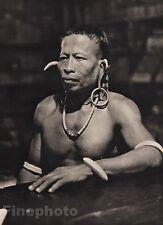 1940 Original BORNEO MALE Kelabit Chieftain Jewelry Art Photo Gravure K.F. WONG