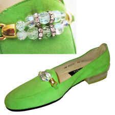 New $250 Bejeweled STUART WEITZMAN Loafers 5.5SS LIME SUEDE Nothing Like Them