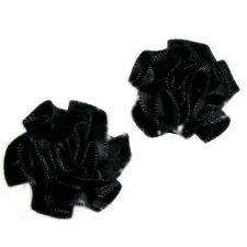 Satin Ribbon Rosettes Flowers Roses 3cm Wide Black 4