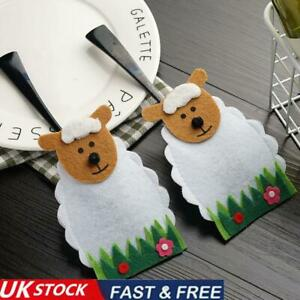 4X Easter Sheep Lamb Holders Pockets Dinner Table Decorations Cutlery-Bags