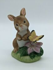 """Homco Bunny Rabbit with Butterfly Figurine #1418, 2 5/8"""" tall"""