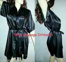 4x/5x/6x black SHORT SATIN ROBE dressing gown PLUS SIZE LINGERIE 4x/5x/6x