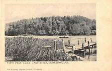 Sodermanland Sweden birds eye view boats pier antique pc Y14247
