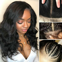 Silk Base Top Full Lace Front Wig Malaysian 100% Human Hair Wigs Pre Plucked CXb