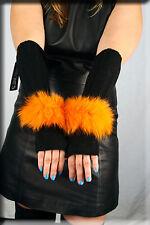 New Black Chenille Fingerless Gloves Orange Fox Fur Trim Hand Warmer Efurs4less