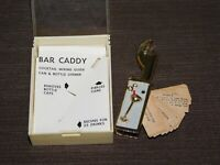"""VINTAGE 3 1/4"""" LONG MINI COCKTAIL MIXING GUIDE CAN & BOTTLE OPENER BAR CADDY"""