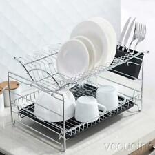 Kitchen Dish Drying Rack Drainboard Cutlery Cup Utensil Organizer Holder 2-Tier