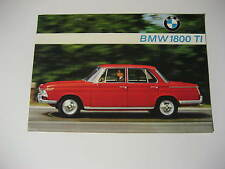 1965 BMW 1800 TI Brochure Spec Sheet