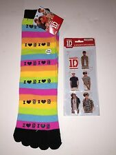 One Direction I Love 1D Striped Toe Socks Plus Puffer Stickers, Size 4-10