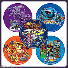 Skylanders Stickers x 5 - Round - Birthday Party Favours - Boom Time Giants