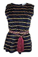 ADOLFO Saks 5th Avenue Vintage Black Gold Striped Silk Top (S)
