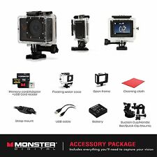 Monster Vision 1080p+ 60fps Sports Action Camera Kit BRAND NEW